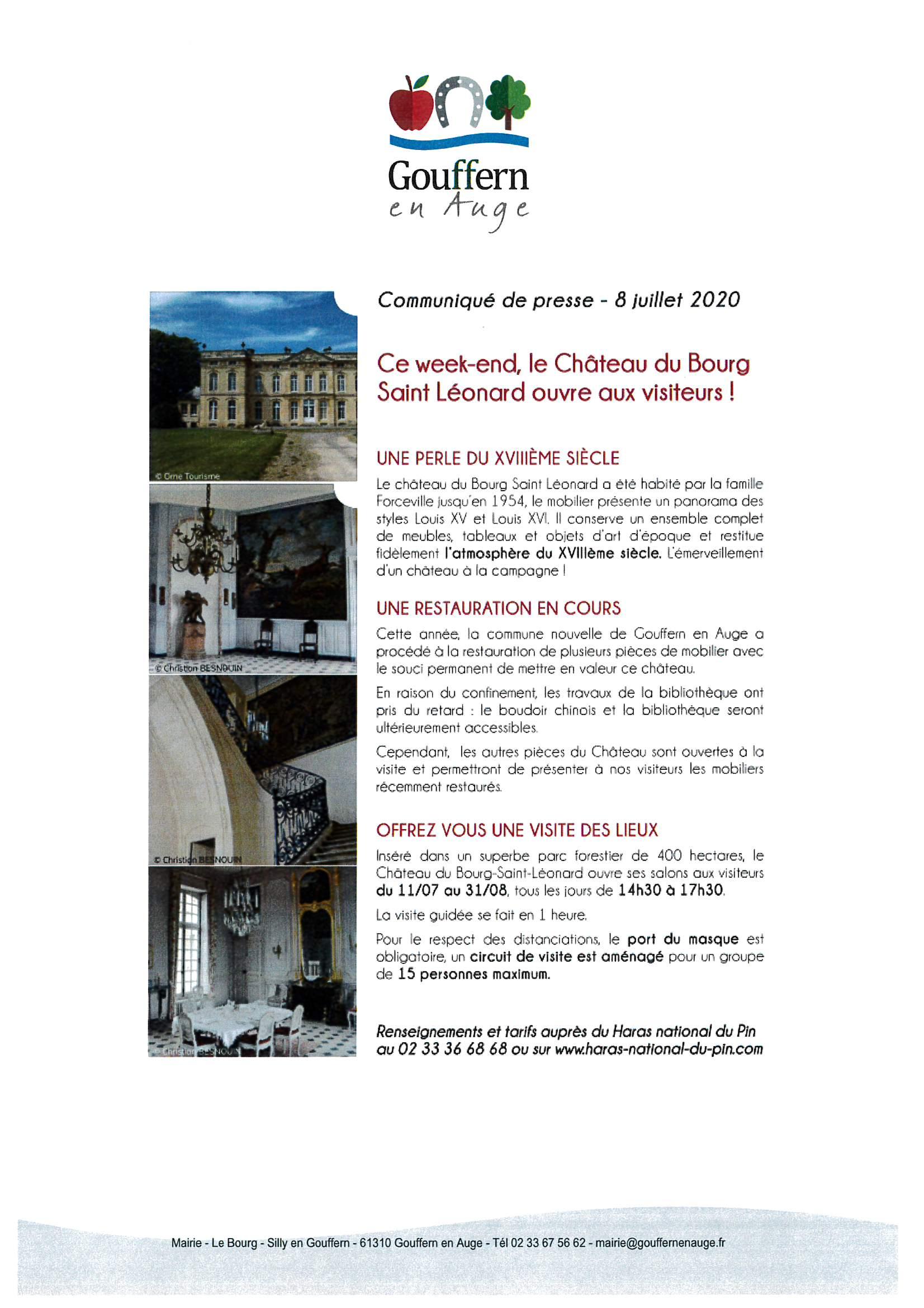Communiqué de presse – 8 juillet 2020 – Château du Bourg St Léonard