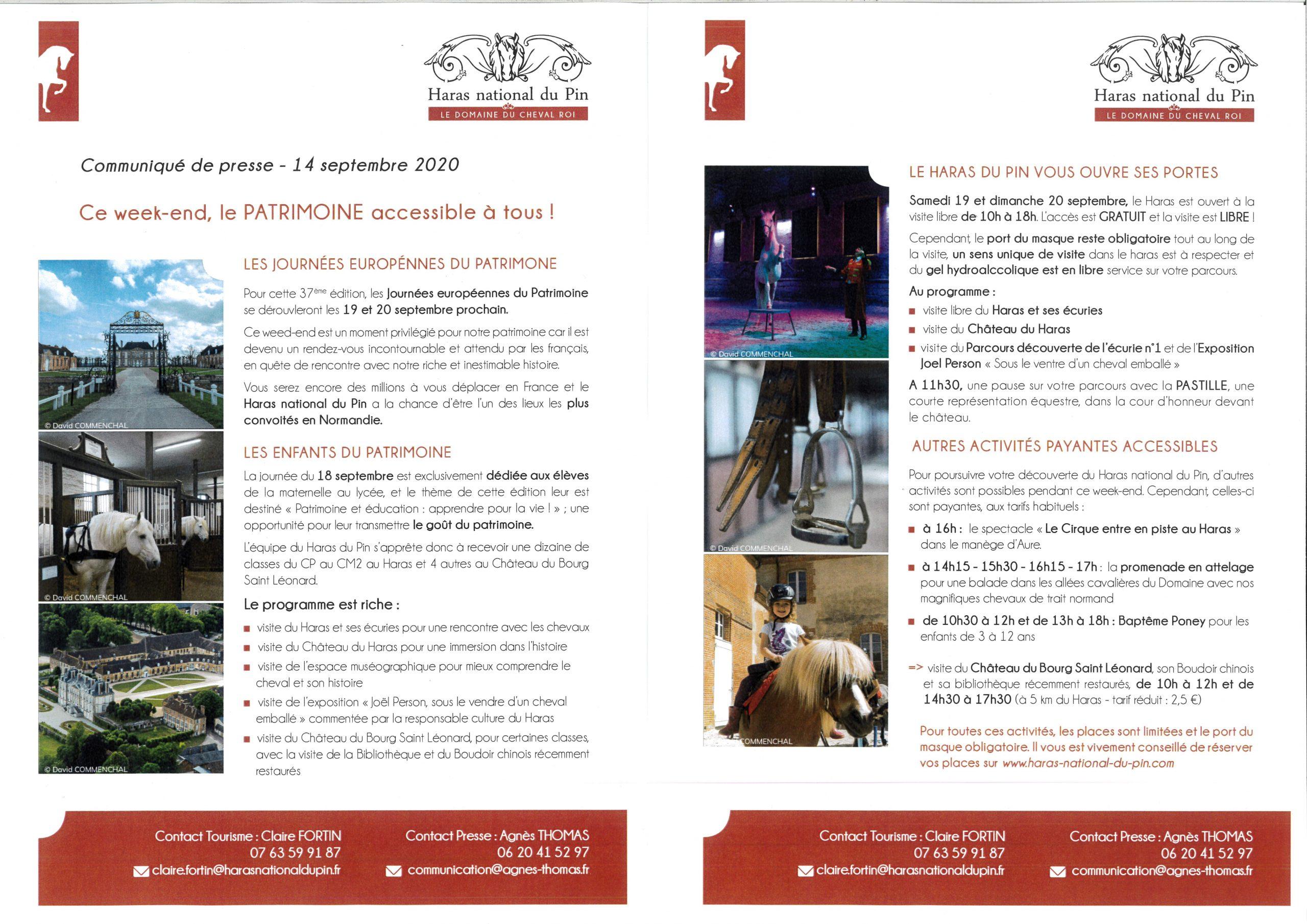 Journées du patrimoine 19 et 20 septembre 2020
