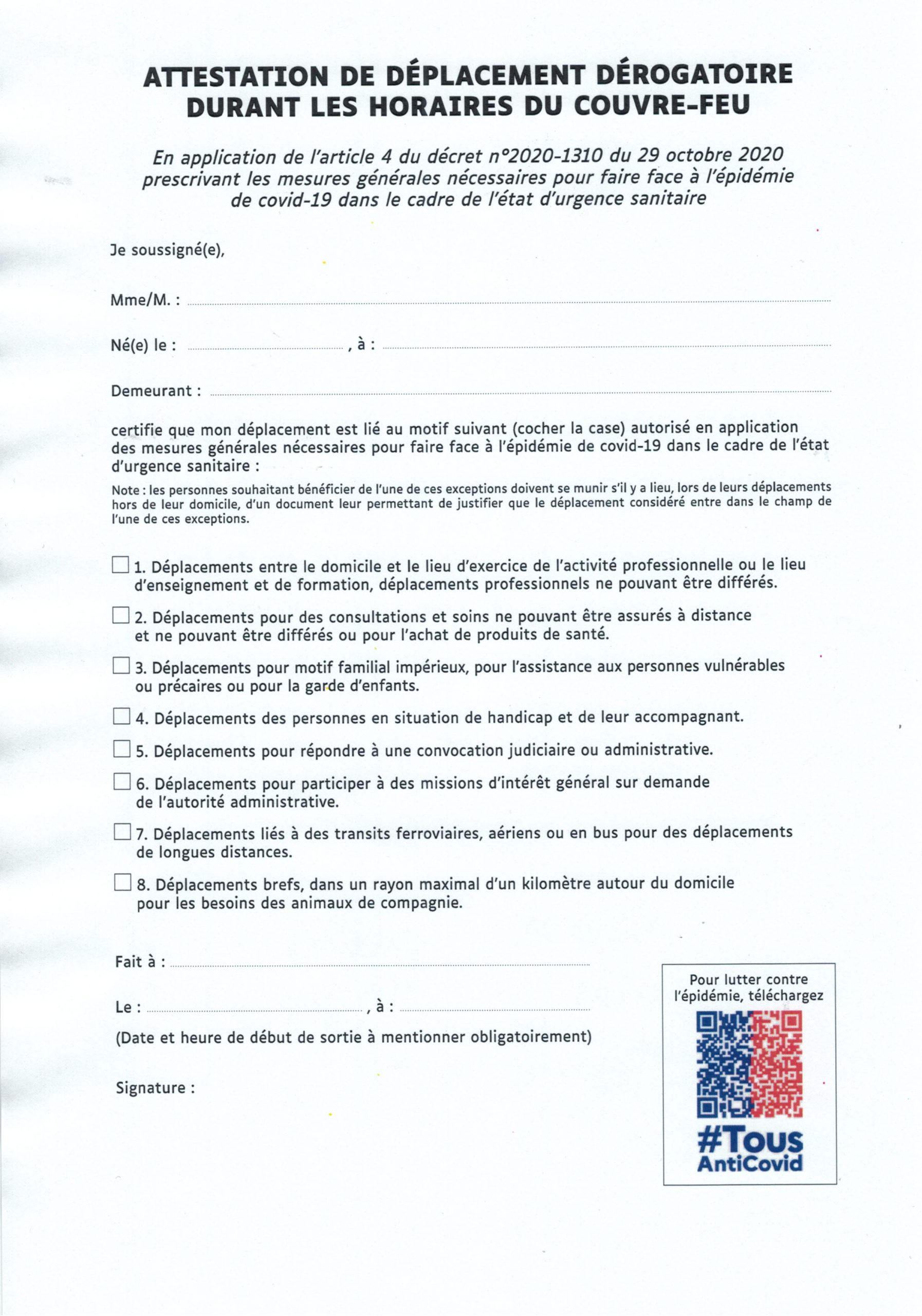 ATTESTATION DE DEPLACEMENT DEROGATOIRE COUVRE FEU